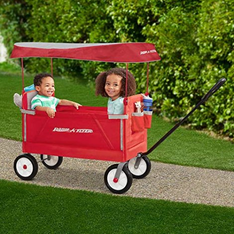 Radio Flyer Folding Wagon with Canopy for kids and cargo